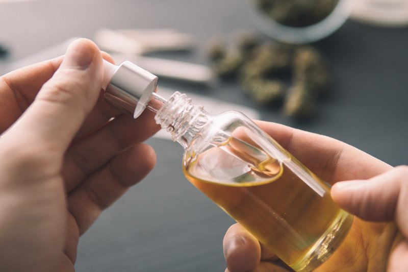 a small bottle of CBD oil