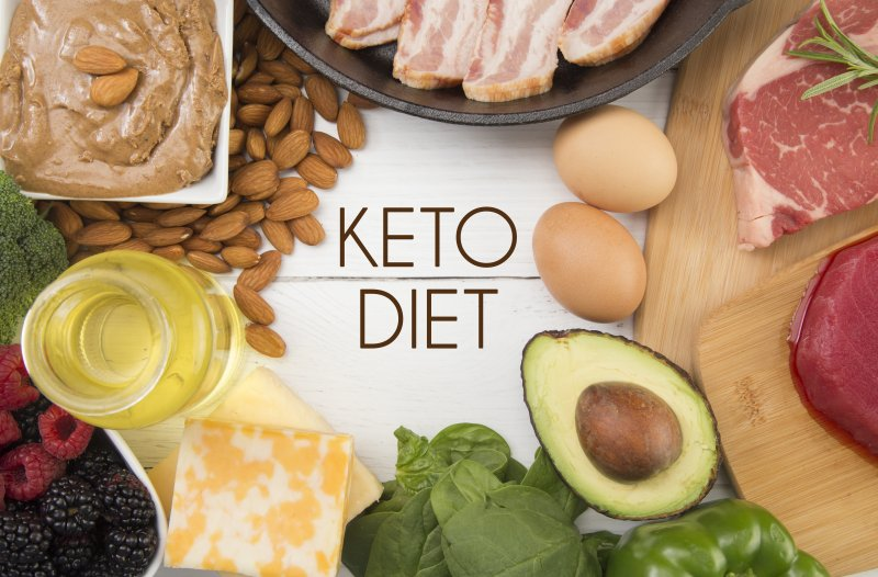 """a spread of healthy foods and the words """"KETO DIET"""" in the middle"""